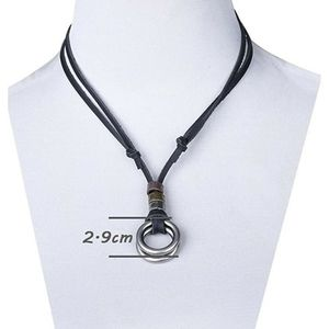 Other - Unisex Black Leather&Stainless Steel Necklace